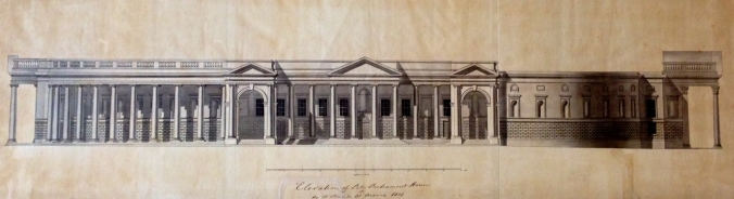 The South Front as it appeared in 1802.  Survey by Francis Johnston.
