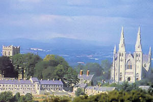A modern view showing the dominance of the Catholci Cathedral in the Armagh skyline.