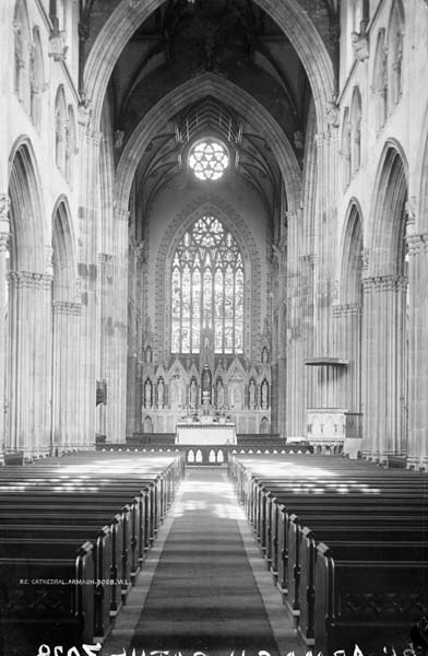 The interior of the Cathedral as completed by McCarthy looking East towards his Caen stone lady chapel reredos of 1871.