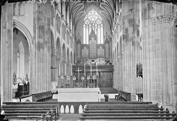 The Nave looking West towards the Telford organ in its original case, 1875.