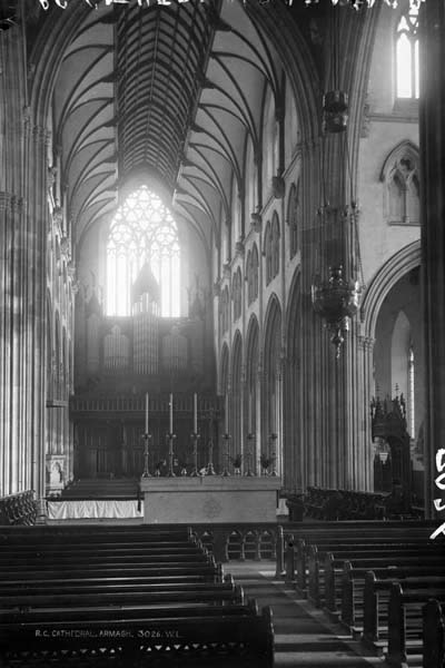 The interior of the Cathedral looking West from the crossing as completed by McCarthy showing his hammer beam roof.