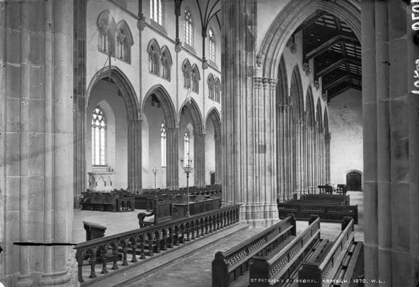 Tightly cusped and densely clustered Perpendicular columns at the crossing are one of the few remaining indications of Duff's plans for the Cathedral interior and its crossing tower.