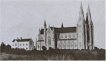 The North Transept of the Cathedral showing the asymmetry and increased height added by McCarthy to Duff's plans.