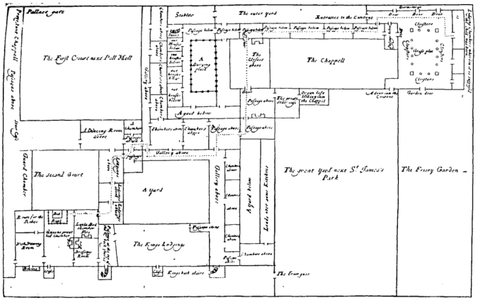 Simon Burgiss, plan showing the centrality of the Queen's Chapel, St James's Palace to the alleged smuggling of the child into the Queen's bedchamber.