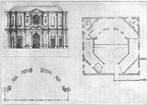 The Cockpit-in-Court as planned by Inigo Jones in 1617.