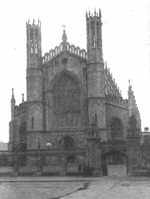 St. Patrick's Church, Dundalk, as completed between 1835 and 1847 as a romanticised version of the Chapel of King's College, Cambridge and without the later tower of 1903 which compromised this precedent.