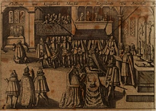 Erasmus Kempffer, Illustration of His Majesty in England Signing the Spanish Marriage Treaty in an Imagined Chapel Royal, Whitehall including a Catholic Side Chapel and Showing Gondomar Preparing the Foundation Stone of the Queen's Chapel St James's Palace