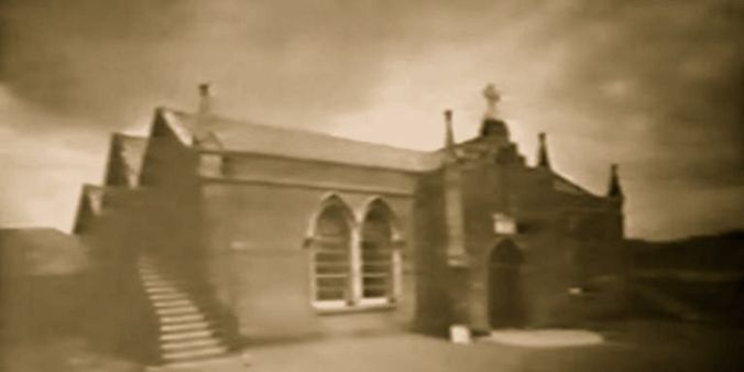St. Malachy's Chapel, Chapel Lane, sole site of Catholic worship in Armagh in 1835 photographed just before its demolition in 1936.