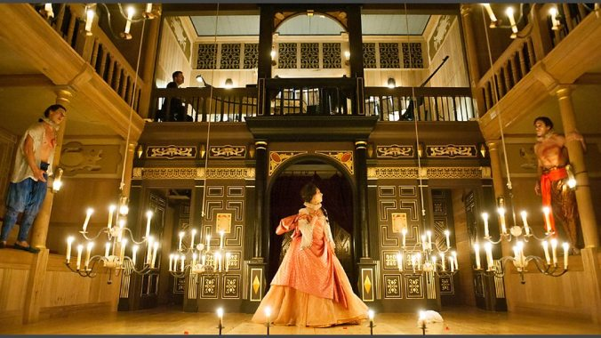 The sense of drama in the space is much heightened with the use of candles suspended from chandeliers which rise and lower in order to bring intensity or drama to  a scene.  Here this is used in Francesco Cavalli's opera L'Ormindo.