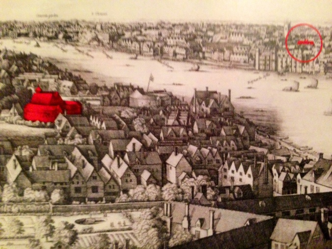"A detail of Wenceslas Hollar's ""Long View"" of London (1647) highlighting the second Globe Theatre and the roof of the Blackfriars Theatre across the river."