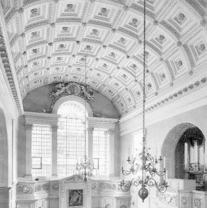 The interior of the Chapel looking East and showing the coffered ceiling and Venetian window.