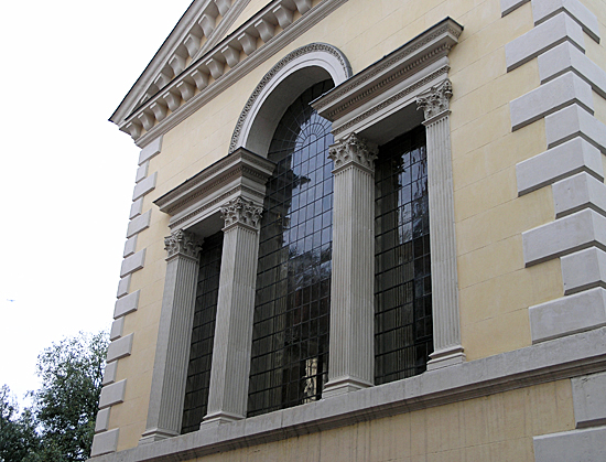 An Exterior view of the East Venetian Window.