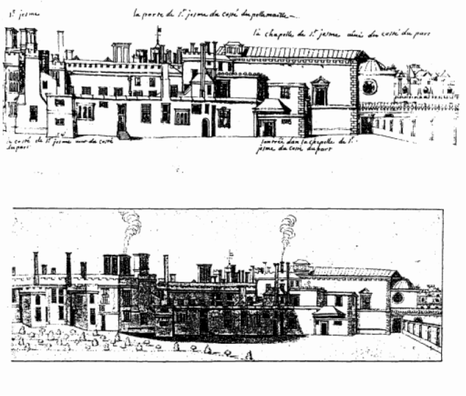 Engraving showing Wren's exterior extension of the Chapel and Friary.