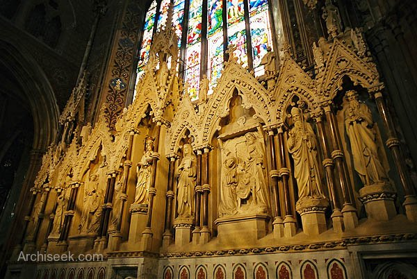 McCarthy's Lady Chapel Reredos.  The lower portion was greatly altered by Ashlin & Coleman in 1904 when an elaborate marble altar was added which was then itself removed in 1982.