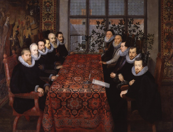 The Somerset House Conference, 1604, National Portrait Gallery. Delegates from Spain and the Spanish Netherlands on the left, the English on the right.