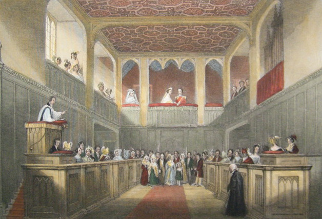 The Chapel Royal, St James's Palace looking West towards the Royal Closet. Steel Engraving, Published 1841 by Joseph Mead