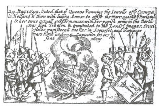 Woodcut Illustrating how the Queen's Chapels at Somerset House and St. James's were Sacked and Burned.