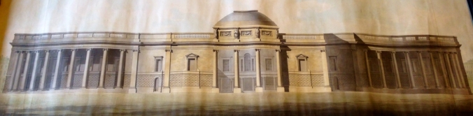 """WW"" Proposed South Elevation of the Bank of Ireland, showing the substantial obliteration of Pearce's work. (Irish Architectural Archive)"