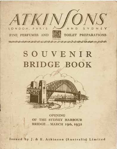 A brochure prepared by Atkinson's in Australia to celebrate the opening of the Sydney Harbour Bridge.