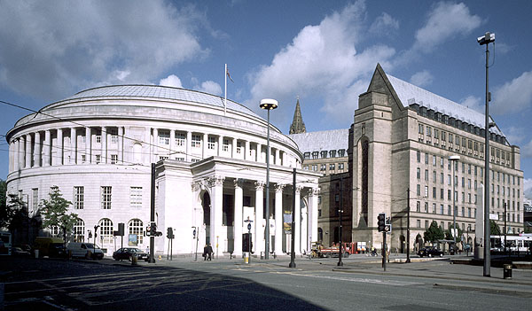 Manchester Central Library and Town Hall.