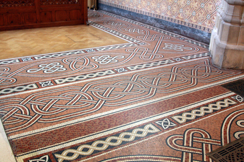 Intricate Celtic knot mosaic on the Cathedral floors.
