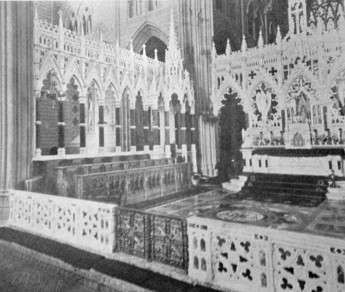 The Crossing showing the Rood Screen, North side screen, Cathedra, communion rails and High Altar.