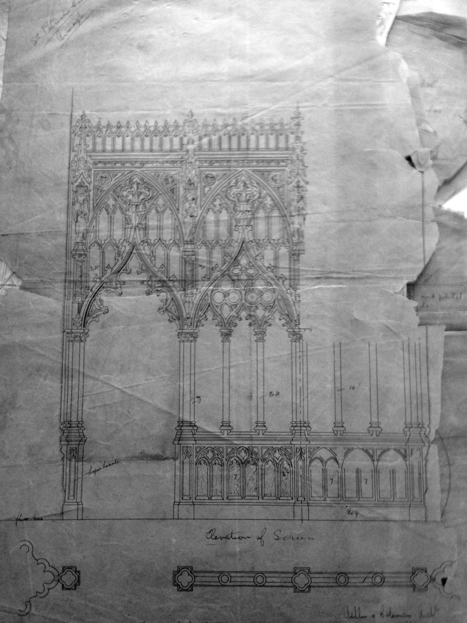 Plans for the screens enclosing the Lady Chapel, Ashlin & Coleman, 1904. (Irish Architectural Archive)