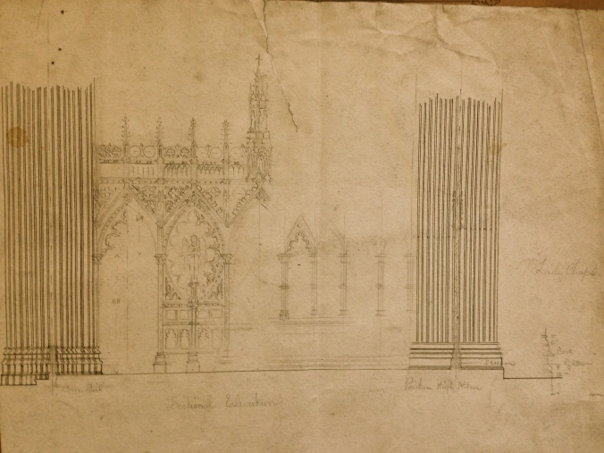 Plan for the Rood Screen, William Hague, 1899. (Irish Architectural Archive)