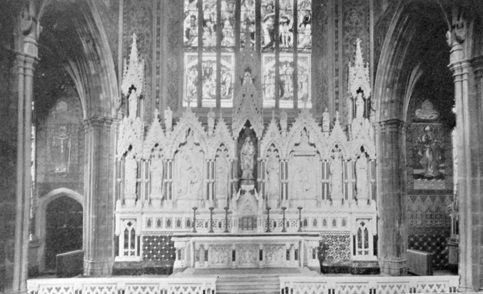 The Lady Chapel showing McCarthy's Caen Stone Reredos of 1876 with the marble additions of 1900-1904.